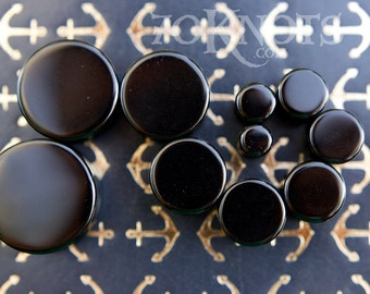 Black Obsidian Stone Plugs - Double Flared - 1 Pair - 6mm, 8mm, 10mm, 11mm, 12.7mm, 14mm, 16mm, 19mm, 22mm, 25mm - Organic