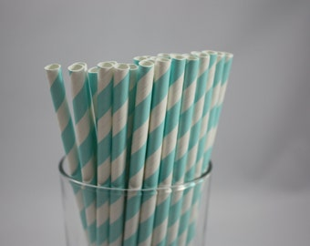 "Light Blue and White Striped Paper Straws - 7.75"" - blue and white - white and blue -  baby shower - birthday party  - straws with stripes"