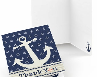 Set of 8 Ahoy Nautical Thank You Cards - Party Supplies