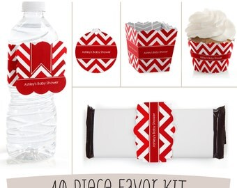 Red Chevron Decoration Kit - Red Party Table Setting Kit for 8 - Baby Shower, Birthday Party, Bridal Shower or Everyday Party - 40 pc Set