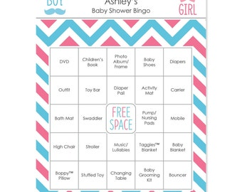 Gender Reveal Blue and Pink Chevron Baby Shower Bingo - 16 Unique Personalized Gift Bingo Game Cards
