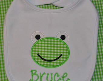 Applique Frog Bib for Boys