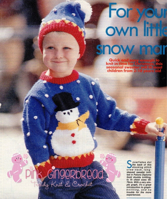 Childs Vintage Snowman Jumper Knitting Pattern in PDF format
