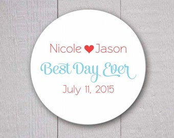 Best Day Ever Wedding Stickers, Wedding Favor Stickers, Wedding Favor Labels (#169)