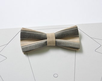 Brown Groom Bow Tie. Strip Caramel Bow Tie. Beige bow tie Coffee latte bow tie Camel bow tie Gingham bow tie Men's bow tie