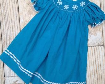 Blue Smocked Snowflake Dress - Teal Corduroy (Frozen)