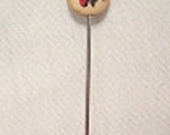 Vintage Handcrafted  Scrimshaw Strawberry Design Oval Bone Lapel Silvertone Stickpin - Signed MC