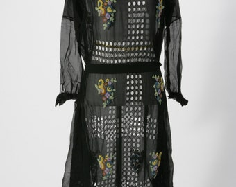 Very Rare 1920's Flapper Dress Black Chiffon Cutout Details with Floral Beaded Bouquets, Flapper Dress, 1920s Dress, 1920s, Art Deco Dress