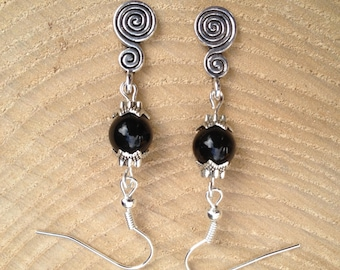 Spiral of Life Black Onyx Pagan Earrings Gemstone Crystal Tibetan Silver Pagan/Wicca/Witch/Witcraft/Shamanism/New age/Goth/Boho