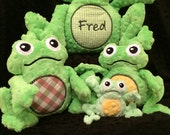 Fred the Frog and Family - ITH Machine Embroidery, pes, hus, vp3, dst and jef formats. Hoops 4x4, 5x7, 6x10m 8x12