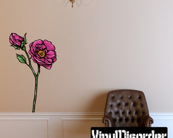 Floral Flower Wall Decal - Wall Fabric - Vinyl Decal - Removable and Reusable - FloralFlowerUScolor054ET