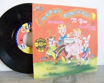 Happy Birthday To You Song Cricket Record 45 Vintage Children's Record Clark McClelland No C34 Toni Waiman Jolly Good Fellow Evon Hartmann