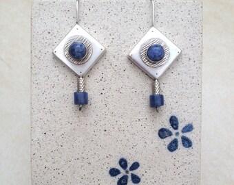 Square earrings , sterling silver , Sodalite earrings , handmade , blue Sodalite , Sodalite bead , Blue earrings