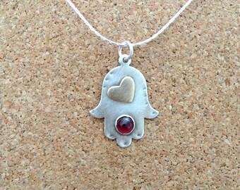 Hamsa Pendant ,  Sterling silver Hamsa , Hand of Fatima , hamsa necklace , Silver chamsa