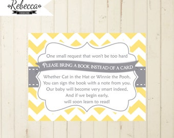 Bring A Book Card Printable Chevron Yellow Bring A Book Instead Of A Card  Gray And