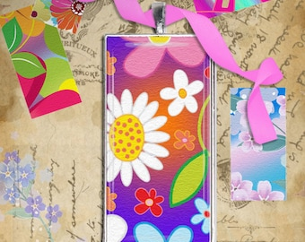 Flowers textura  - 1x2 inch Digital Collage Sheet Printable Download for domino pendants magnets