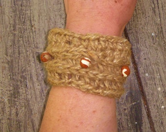 Jute Cuff/Bracelet with Red and White Handmade Clay Beads