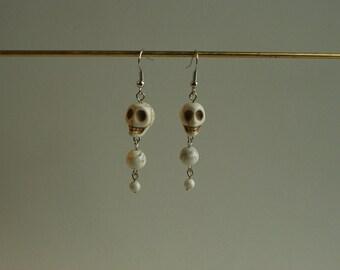 Neutral Magnesite Skull Earrings/ Halloween Earrings
