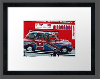 London, Archival Paper, Street,Urban Wall Art,London Taxi,London Advertising,Interiors,House,Framed,Ready To Hang.'London Taxi'