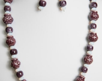 Purple Beaded Necklace and Earrings - Bead Jewelry Set - Porcelain Beads - Beaded Jewelry