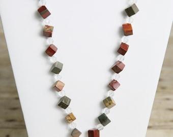 Picasso Jasper Gemstone Necklace - Bead Jewelry Set - Gemstone Beads - Geometric Jewelry - Cube Jewelry