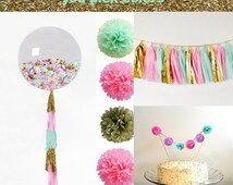 Birthday Party Decorations, Party Kit, Shower Decorations tissue tassel garland, tissue paper pom, 36 inch balloon, and a cake topper
