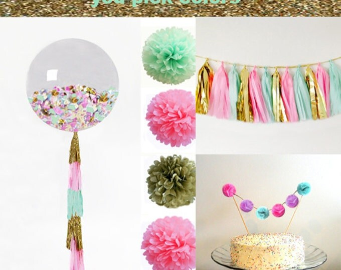 "Birthday Party Decorations | Party Kit | Shower Decorations | Tissue Tassel Garland | Tissue Paper Pom | 36"" Balloon 