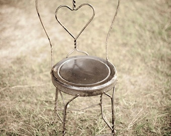 Chair - deserted, heart, chair, diner, sepia, wireframe, light, photography, wall art