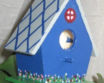 Cobalt birdhouse plant stake