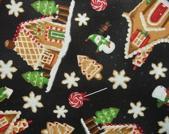 Christmas Quilt Fabric, RJR 1509 A Gingerbread Christmas, Gingerbread Fabric, Gingerbread House, Snowman Fabric, Gingerbread Cookies, Sale