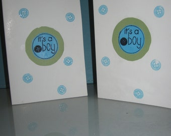 New Baby Boy Button Card