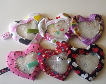 Girl - Heart Shape I spy Bags- Polkadots, Disney Tinkerbell, Hearts, Ladybugs, Educational Toy, Hide and Seek Bag