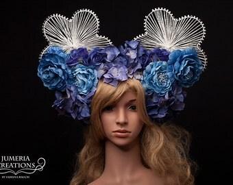 SALE**** Ready to Ship beautiful Wedding Headpiece Angel blue Flowers Karneval Rio Burlesque Headdress