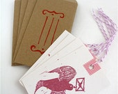 Hand-Carved Stamped Tag and Envelope Set - Bird & Love Letter