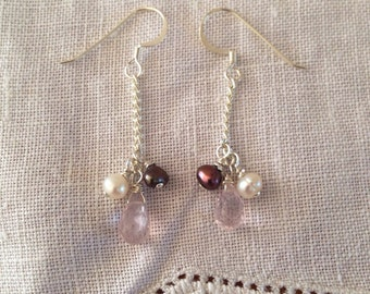 handmade rose quartz briolette and pearl earrings