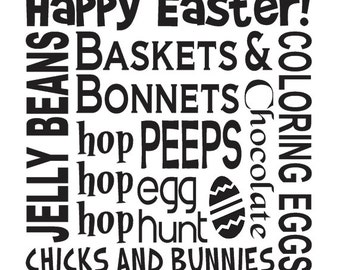 """Primitive Easter Spring STENCIL **Happy Easter! Jelly Beans Baskets Eggs**12""""x12"""" for Painting Signs, Airbrush, Crafts, Wall Art and Decor"""
