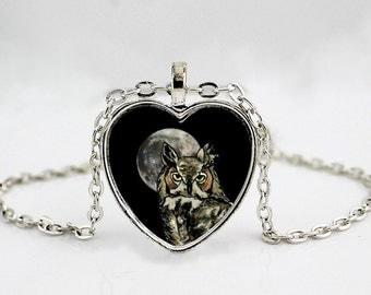 Horned Owl // Tiger Owl // Owl Jewelry // Owl Art // Owl Pendant Necklace // Owl Necklace // Bird Jewelry