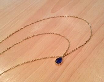 Gold hair chain, hair chain with blue stone pendant, hair accessory