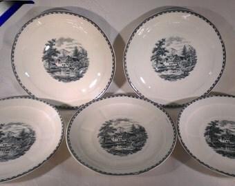 Dutch porcelain! Société Ceramique Maestricht set of 5 plates or large saucers, pattern Landschap  Landscape in black, 1950s, Netherlands
