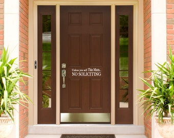 Funny No Soliciting Sign Unless you sell thin mints NO solicitors removable front door wall words decal #Ns1