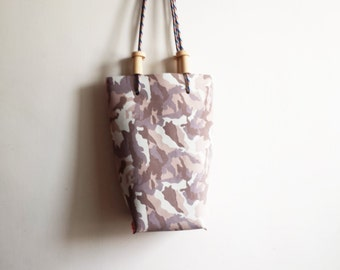 SALE Camouflage lamb leather tote bag