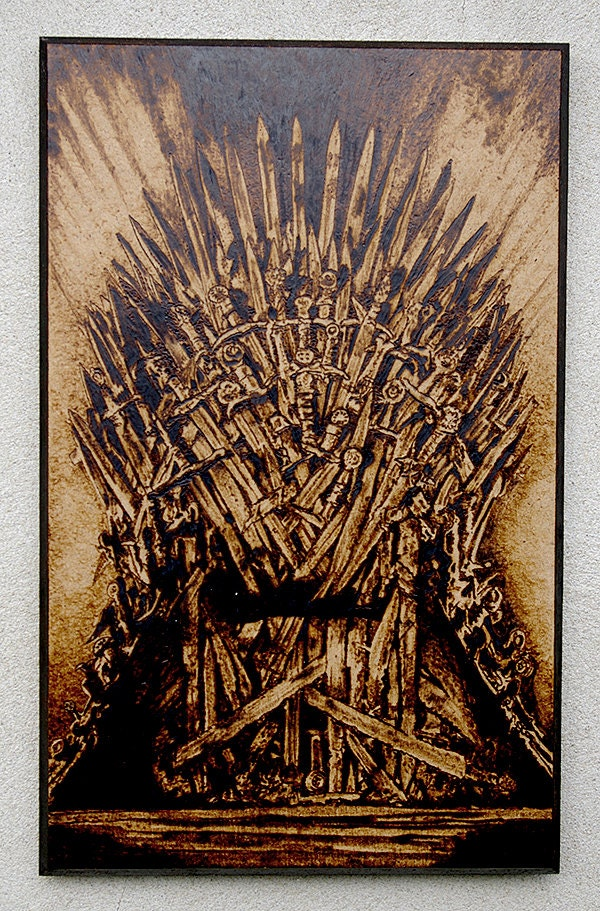 The game of thornes inspired got the iron throne pyrography for Iron throne painting