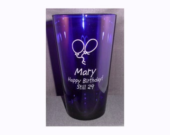 Custom Engraved Blue Glass - Personalized Beverage Glass - Blue