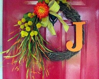 Fall Wreath-Fall Door Decoration-Monogram Door-Painted wood initial-Front Door Decor-Autumn Decor-Door Decoration-Thanksgiving Wreath