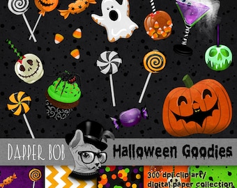 Halloween Candy Treats and Sweets Digital Clip Art Elements for Scrap-booking and Paper Craft