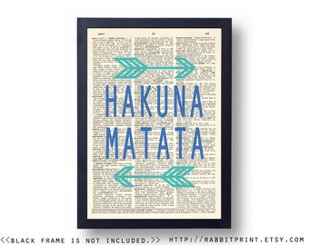 Hakuna Matata Dictionary Art Print, Quote Typography Wall Art Print, 8x10 Wall Decor, illustration Dictionary Page Print, Poster, Wall Decal