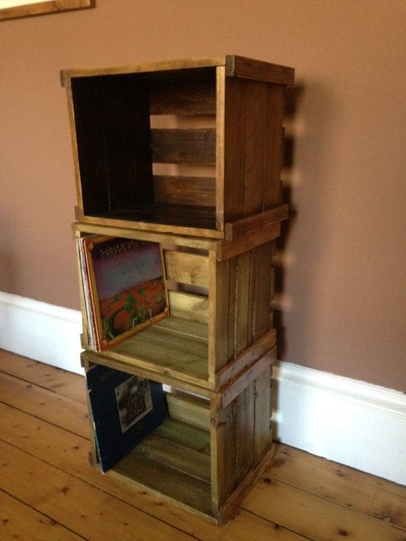 vinyl record lp stackable wooden crate for great by. Black Bedroom Furniture Sets. Home Design Ideas