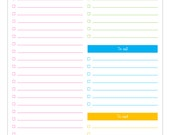Daily To - do checklist {with categories} PDF Planner, (list, daily to do, to call, to visit) planner pages pdf, Instant Download