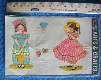 Vintage Meyercord Decorator Decal- Holly Hobbie Style Basket Girls- 1970's