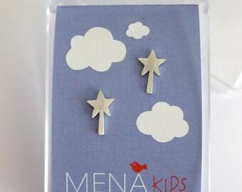 Magic wand Silver earrings